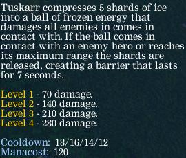 Описание скилла Ice Shards Туска